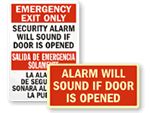 Emergency Exit Alarm Signs
