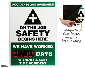 Safety scoreboard with changeable message