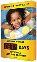 Safety Is A Family Value (Child Swimming) Sign