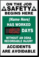 Custom Digi-Day Plus Electronic Job Safety Scoreboard