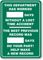 This Department has Worked Sign