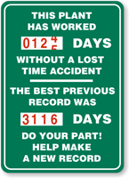 Plant Worked Days Without Accident Sign