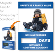 Safety Is Family Value Scoreboards Face, Kid Sledding