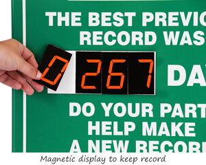 Custom safety scoreboards with magnetic numbers