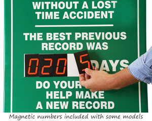 Magnetic safety scoreboard