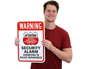 Security Alarm Connected To Police Department Sign