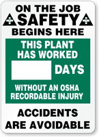 Job Safety Days Without OSHA Injury Sign