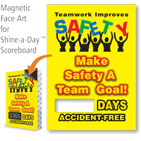 Teamwork Improves SAFETY Changeable Scoreboard Magnetic Face