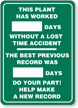 Plant Worked [****] Mark-a-Day™ Safety Scoreboards Sign