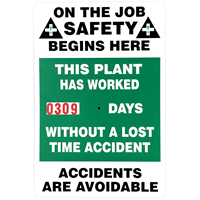 On the Job Safety Begins Here Signs